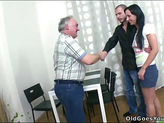 Horny Brunette Fucks an Old Guy in a Super Raunchy Video