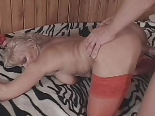 Old blonde Ursula fuck with a young one