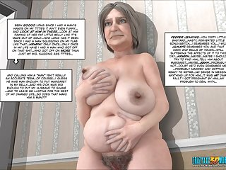 3D blowjob by a slender granny in HD
