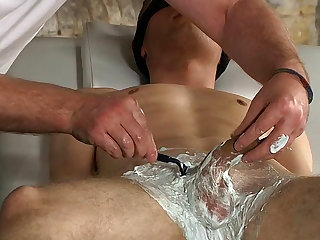Aiden Jason is shaving balls of Sebastian Kane