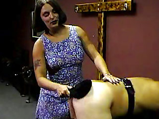Perverted brunette is spanking that chubby ass