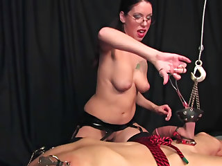 Blowjob followed by cock and ball torture