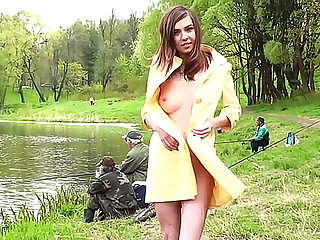 Perfect teen body naked lakeside