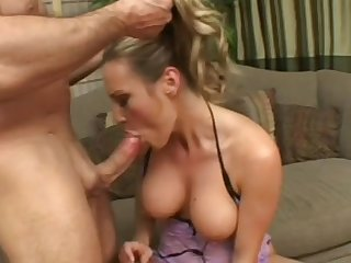 Beauty milf with fake tits Harmony Rose being pounded by John Strong in her trimmed pussy