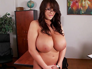 Spectacular secretary with hot nasty boobies and chubby ass Leanne Crow shoes her naked body