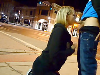 Cute Blonde Girlfriend Sidewalk Blowjob In Public