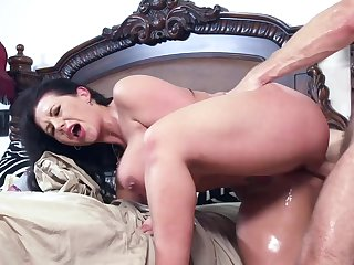Busty mom, Sheridan Love, screams and shakes in amazing scenes while enduring son's huge cock fucking her tight pussy and ass in savage modes
