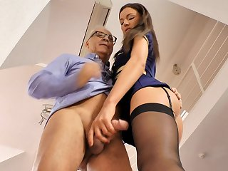 Babe brunette in stockings Nataly Gold is giving a deep blowjob for this fucker and getting his sperm on ass