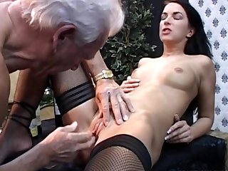Tanned supermodel Clarissa is getting pleasure while sucking that big dick of an old prick