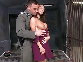 Slim beauty Foxy Di is getting digitally stimulated by this dude before he nails her shaved pussy in this prison.
