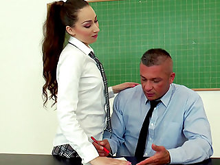 Leyla Bento lets a mature guy explore her dripping wet twat