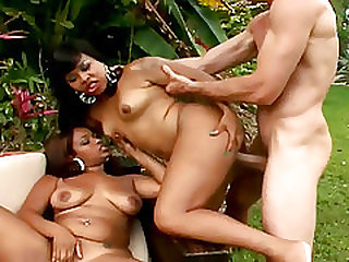 Two Ebony Babes Have Interracial Sex In A Amazing Threesome