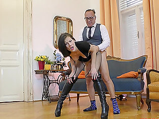 Dick starved Mimi will do anything for a mature man's penis