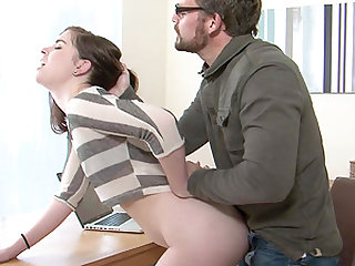 Lovely Amber Nevada attacked by a nasty mature fellow