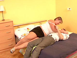 Mature fatty enjoys fucking a younger dude who wants more and more