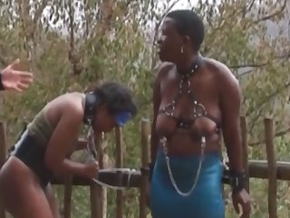 2 Africans are abused and suck cock in the rain