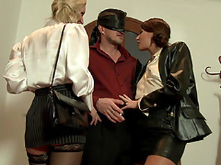 Horny blindfolded guy gets to fuck three insatiable nasty babes