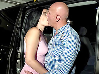 Brunette Alice Nice shaved pussy throbbed hardcore in car
