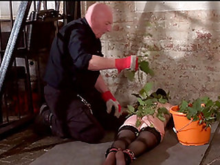 Stinging nettle bdsm and amateur bondage of tortured slaveslut Lolani in extreme pain