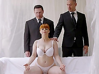 Tied up ginger Penny Pax wants to feel a couple of dicks