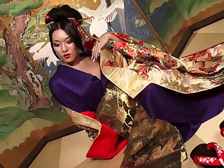 Traditional Japanese shemale strokes her pecker with ultimate passion