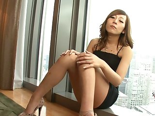 Slow Japanese tranny striptease with erotic masturbation
