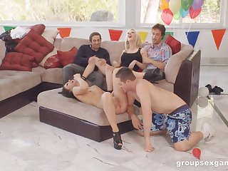 Fun birthday party turns into a full blow group sex party
