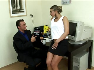 Nice secretary uses her pussy to relax her stressed out boss