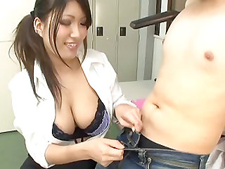 Cute brunette with massive tits craves to suck on an erected tool