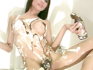 Messy masturbation game for a gorgeous ladyboy with nice boobs