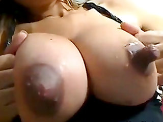 Busty slut with huge tits and nipples teasing and seducing on webcam while