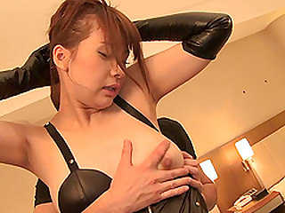 Yui Oba is a chick in high black boots riding a fat cock