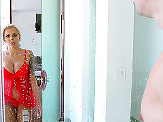 Nina Elle attacks a guy in a shower for a great shagging game