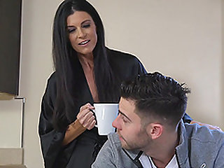 Lusty India Summer riding Seth Gamble vivaciously on the couch