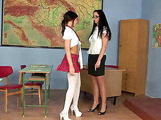 Horny brunettes, Kinga and Madison Parker, dress up as a bespectacled teacher