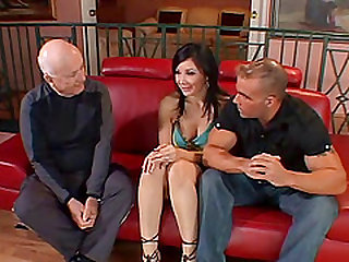 Bald guy gets lucky with a hot brunette who wants to fuck