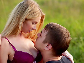 Blonde and her boyfriend are hiking and having steamy sex on the grass