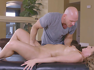 Massaging the great body of Harley Jade can only lead to a facial