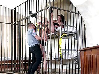 Kinky prison threesome with Olivia Jager and another sexiness