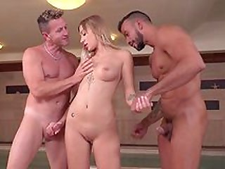 Amazing Haley Hill faces two big dicks