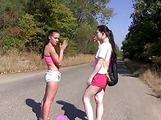 Lesbo teens are having a steamy picnic together