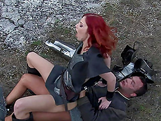 Redhead babe gets her tight wet pussy plowed hard outdoors