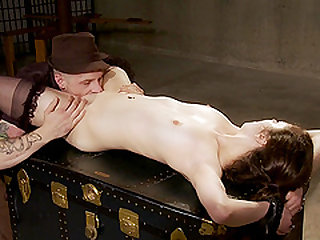 Horny guy likes to torture a sweet girl with different toys