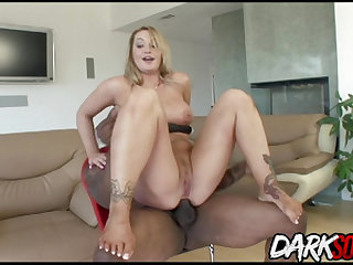 Hot MILF Aline gets interracial anal sex