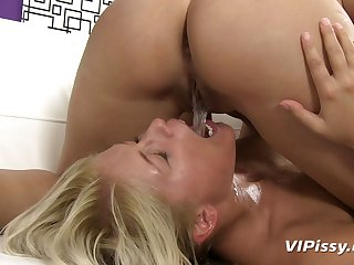 Blonde and brunette eat pussy and swallow each other's piss
