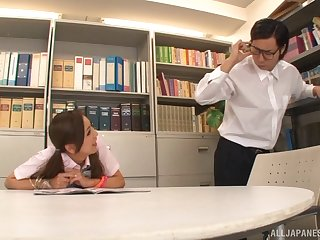 Flirty cutie at the library fucking a nerdy Asian guy