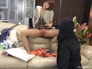 Horny burglar and the sexy Japanese wife masturbate together