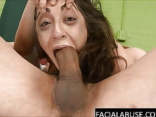 Muslim whore gets violently face fucked by a huge cock