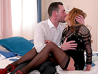 Blonde MILF in stockings Candy Alexa ass fucked at the office