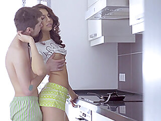 Ass and pussy penetration in the kitchen for brunette Jordan
